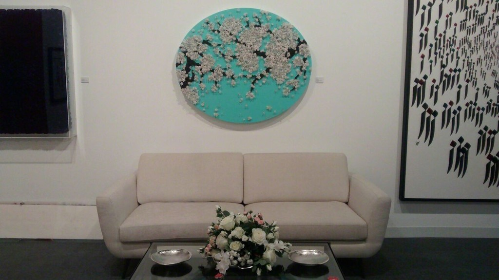 Detailed Shot of Ran Hwangs piece Two Love Blossoms above the sofa
