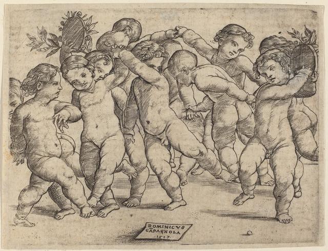 Domenico Campagnola, 'Twelve Children Dancing', 1517, Print, Engraving, National Gallery of Art, Washington, D.C.