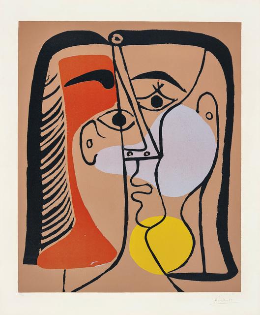 Pablo Picasso, 'Portrait de Jacqueline au cheveux lisses (Portrait of Jacqueline with Smooth Hair)', 1962, Print, Linocut in colours, on Arches paper, with full margins., Phillips