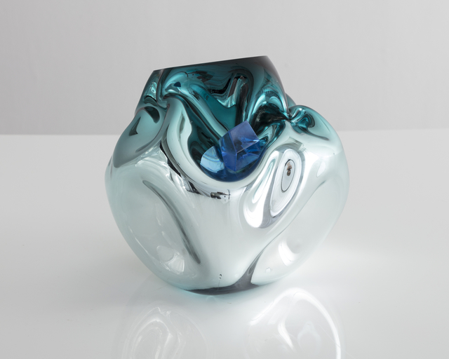 , 'Petite crumpled sculptural vessel in silver and turquoise,' 2017, R & Company