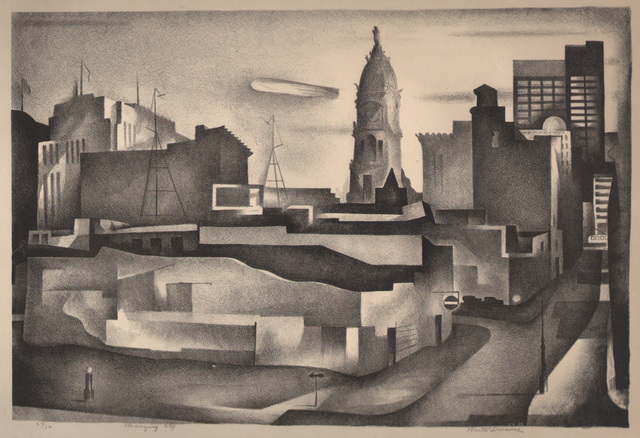 Benton Spruance, 'Changing City', 1934, Print, Lithograph, Dolan/Maxwell
