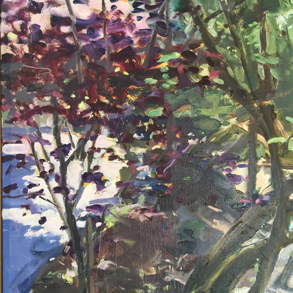 "Dwarka Bonner ""Ornamental Plum"" oil on canvas 14"" x 11"""