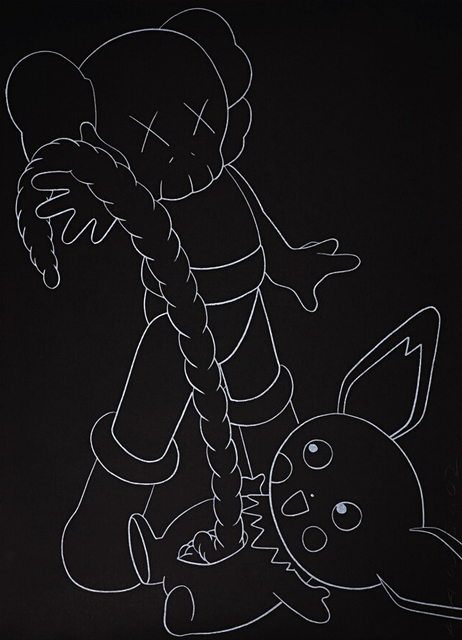 KAWS, 'Companion vs Pikachu', 2002, Print, Screen print on black stock paper, Tate Ward Auctions