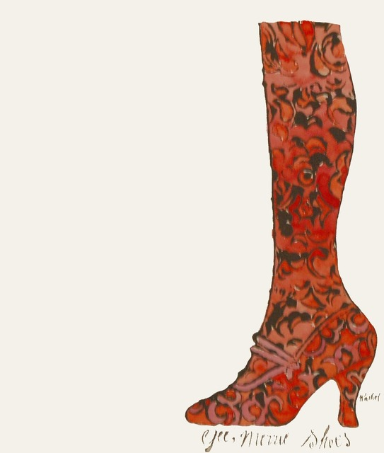 Andy Warhol, 'Gee, Merrie Shoes (Red)', ca. 1956, Mixed Media, Hand-colored lithograph, Puccio Fine Art