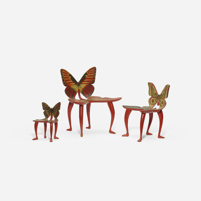 Pedro Friedeberg, 'Set of three miniature Butterfly chair models', c. 1970, Wright