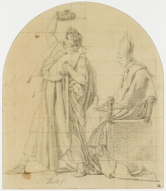 , 'Napoléon se couronnant lui-même en présence du pape assis (Napoleon crowning himself in the presence of the seated pope),' , Château de Fontainebleau
