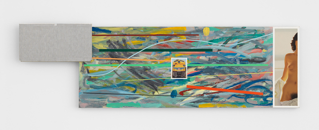 , 'Frank Stella, 'Union Pacific,' 1960; Scribbling and Colored Lines; Union Pacific #954; 1/2 Playboy Nude with White Drapery,' 1978, The FLAG Art Foundation