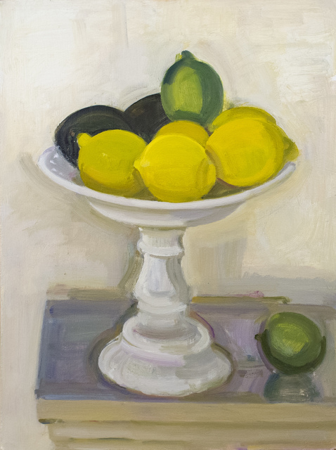 , 'Lemons, Lime and Avocado on Milk Glass Cake Stand,' 2017, BCK Fine Arts Gallery at Montauk