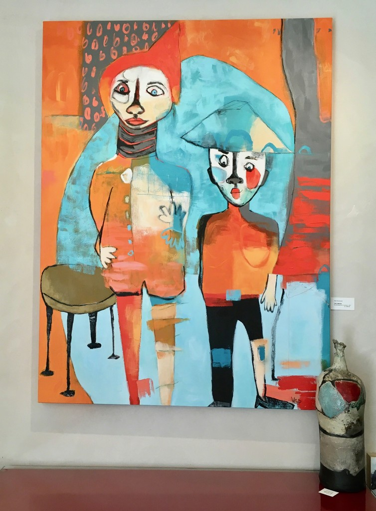 """""""Two Amigos"""" by artist Vikki Drummond, from the Series """"Little People in my Head"""". It is a 48""""Hx36""""W, acrylic on canvas."""