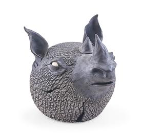 Raku-fired ceramic rhino