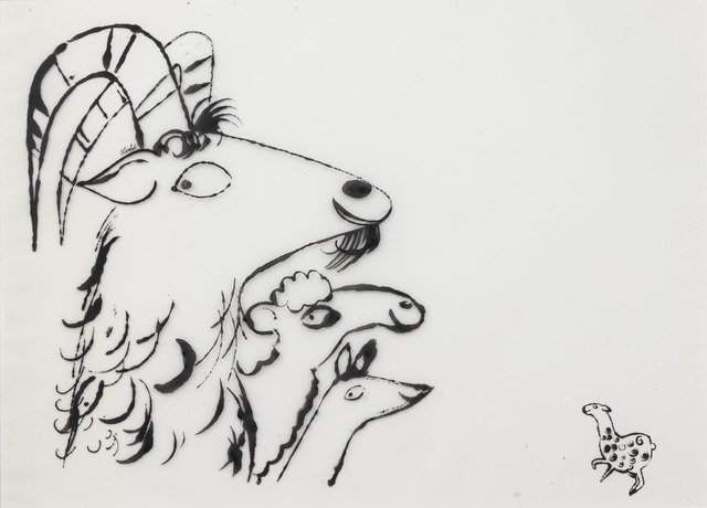 Andy Warhol, 'Four in One', 1955, Drawing, Collage or other Work on Paper, Ink on frosted acetate, Susan Sheehan Gallery