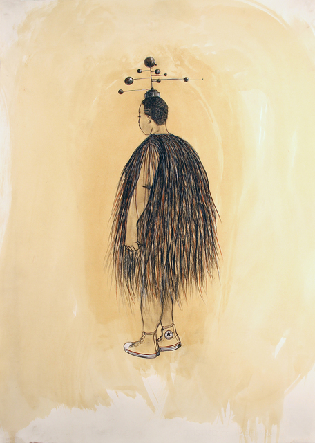 Robert Pruitt, 'Woman with Orrery Crown', 2020, Drawing, Collage or other Work on Paper, Conté and charcoal coffee wash on paper, Koplin Del Rio