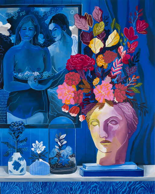 John Holcomb, 'Blue Vignette No.1', 2019, Painting, Acrylic and oil stick on canvas, Rebecca Hossack Art Gallery