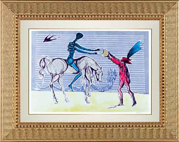 ", '""Don Quixote: The Gift of Mandrino""  Hand Signed Salvador Dali Lithograph ,' 1941-1957, Elena Bulatova Fine Art"