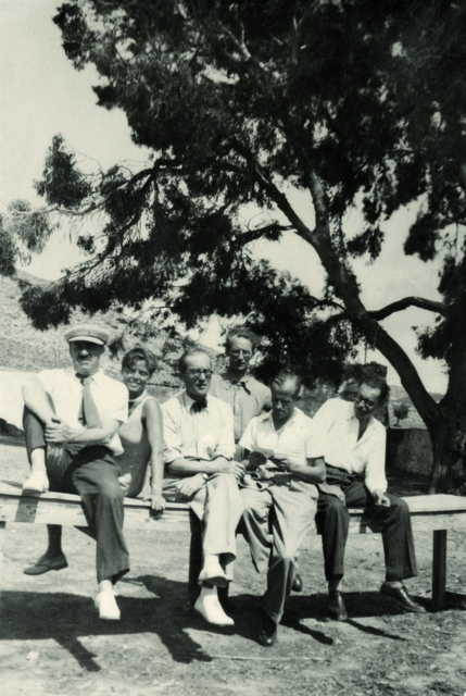 , '(L-R) Fernand Léger, Charlotte Perriand, Le Corbusier, Albert Jeanneret, Pierre Jeanneret, Matila Ghyka in Athens, fourth CIAM congress,' 1933, Museum Ludwig