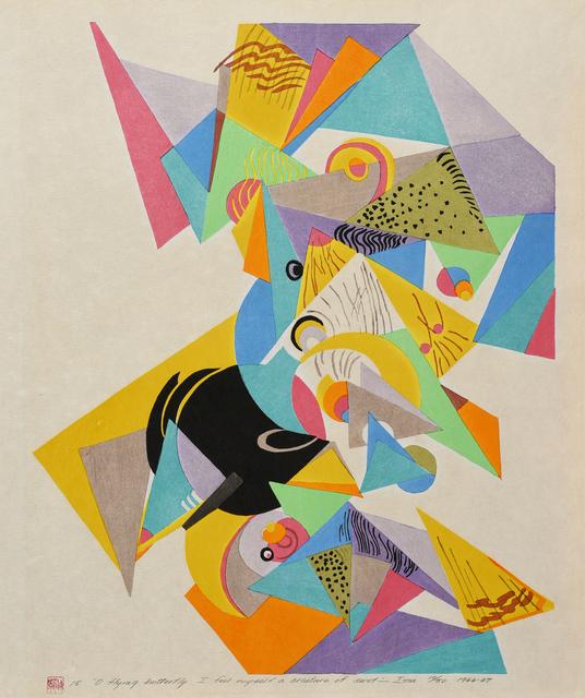 "Stanton MacDonald-Wright, 'Haiga Portfolio, No. 15: ""O flying butterfly I feel myself a creature of dust""--Issa', 1966-67, Print, Color woodblock print, Laguna Art Museum Benefit Auction"