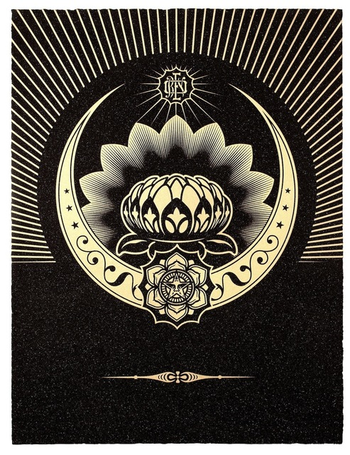 Shepard Fairey, 'Obey Lotus Crescent (Black & Gold)', 2013, Paul Stolper Gallery