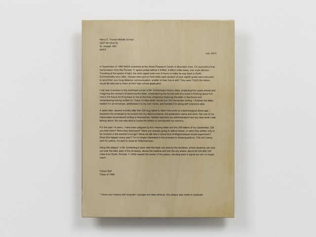 , 'Backup Plaque (Letter From Future Self),' 2014, Casemore Kirkeby
