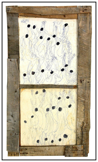 Purvis Young, 'Dominoes', 1981, Drawing, Collage or other Work on Paper, Ink and Oil on Paper, Original Art Broker