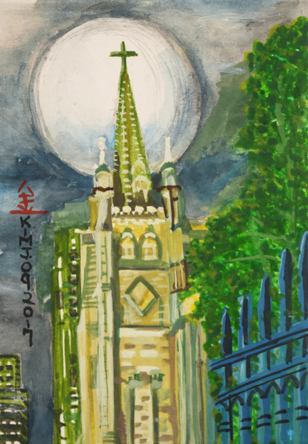 , 'Moon Over NYC Church,' 2017, Fountain House Gallery