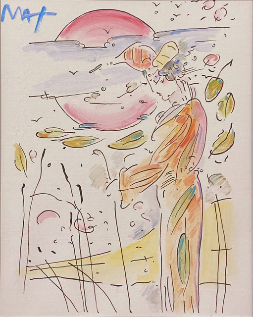 Peter Max, 'Lady with Cane and Landscape ', 2019, Painting, Original acrylic on canvas, Off The Wall Gallery