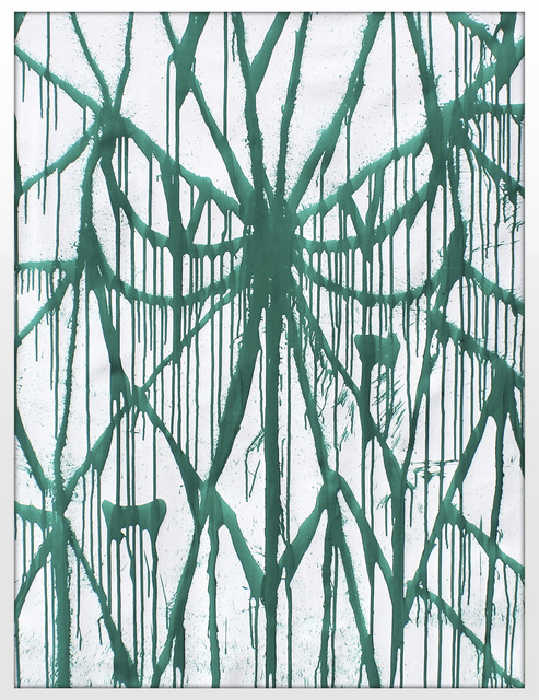 SOLOMOSTRY, 'Locked in Green', 2020, Painting, Metal base paint on canvas, KOLLY GALLERY