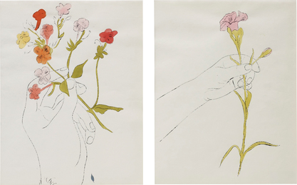 Andy Warhol, 'Hand with Flowers and Carnation/Diptychon,' ca. 1961, Phillips: New Now (December 2016)