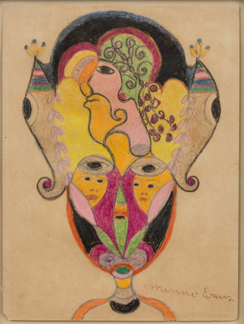 Minnie Evans, 'Untitled (Vase with Two Women's Faces, Larger Face Above, Two Eyes)', ZQ Art Gallery