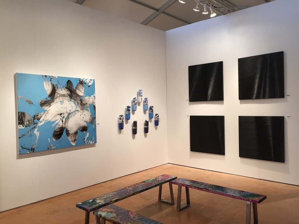 "(from left) Jeff Muhs ""Flower Confidential"", (center) Edie Nadelhaft ""Blue Angels"", (right) paintings by James Austin Murray"