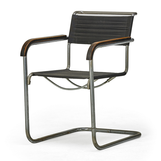 Marcel Breuer, 'B34 Chair, Austria', Early 20th C., Design/Decorative Art, Nickeled Metal, Stained Beech, Eisengarn, Rago/Wright