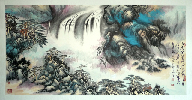 , 'Green gully and waterfall 翠壑飞瀑 ,' 2014, Tian Bai Calligraphy and Painting (天白書畫)