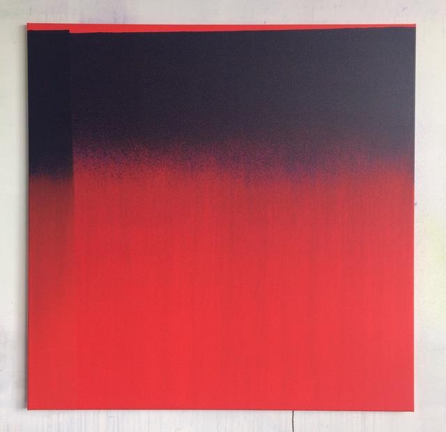 , 'Carré rouge peint avec du bleu et léger décroché,' 2017, GALERIE BENJAMIN ECK