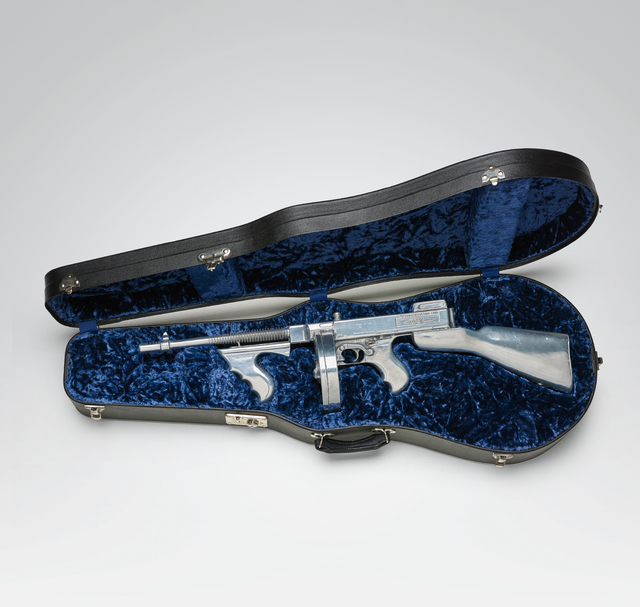 Clive Barker, '14th February 1929', 2000, Mixed Media, Aluminium replica Tommy gun, contained in a blue velvet-lined instrument case, Phillips