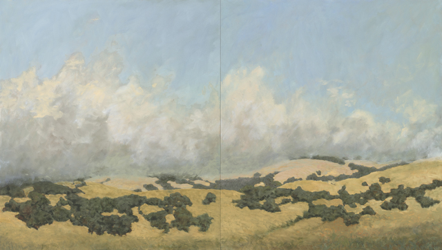 Kristen Garneau, 'Off Felder Creek', 2017, Painting, Diptych, oil on canvas over panel, Seager Gray Gallery