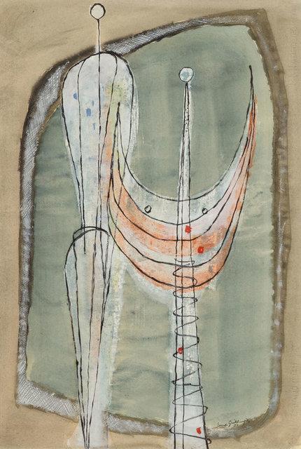 Ernst Geitlinger, 'Zwei stehende Figuren', 1951, Painting, Tempera on paper, mounted on fibreboard, Koller Auctions