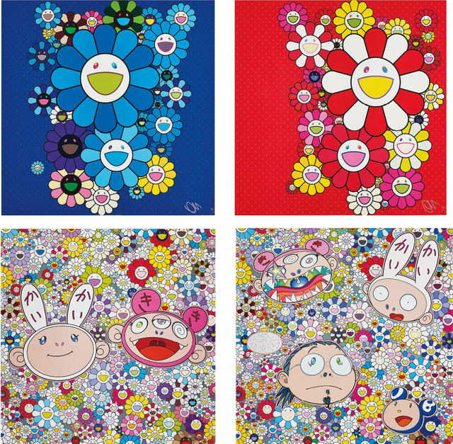 Takashi Murakami, 'Blue Velvet; Rose Velvet; Kaikai & Kiki: Dreaming of Shangri-la; and The Creative Mind', 2015; and 2016, Phillips