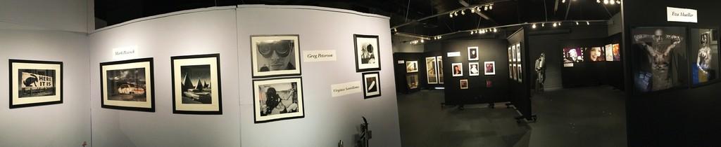 Back gallery installation shot (from left): Mark Peacock, Greg Peterson, Virginia Santillanes, Tony Rizzo, Michel Bourquard, Eva Mueller