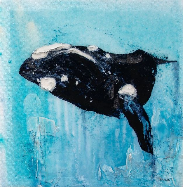 ", '""Northern Right Whale"" Whale With Bright Blue Background Shiny Epoxy Finish,' 2010-2018, Eisenhauer Gallery"