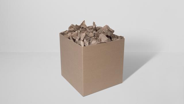 , '3 prepared dc-motors, packing paper, cardboard box 60x60x60cm,' 2014, bitforms gallery