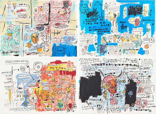 Jean-Michel Basquiat, 'Olympic, Ascent, Liberty, Leeches (Set of four)', 1982-1983/2017, Print, Screen print on paper, Hang-Up Gallery