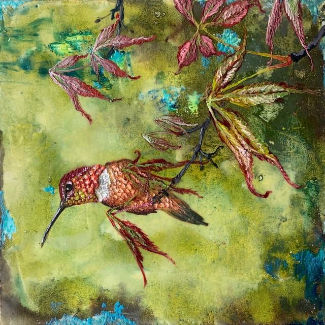 Christopher Reilly, 'Allen's Hummingbird', 2020, Painting, Encaustic & Mixed Media on Panel, Diehl Gallery