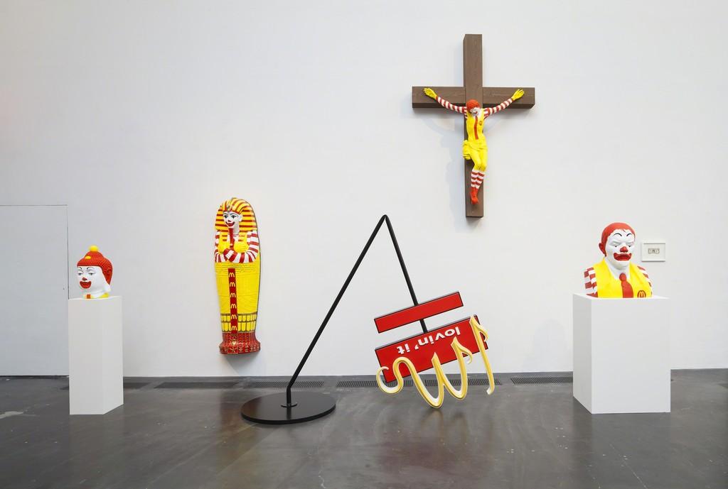 "Installation view of Jani Leinonen""McReincarnation"" (2015), ""McJesus"" (2015), and ""McLenninism"" (2015). Kiasma Museum of Contemporary Art, Helsinki. Courtesy of Finnish National Gallery / Pirje Mykkänen."