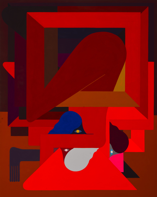 , '(Red), Figure, Three Heads,' 2018, V1 Gallery