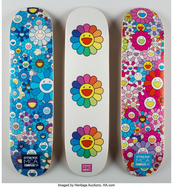 Takashi Murakami, 'Multi Flower 8.0 Skate Decks (Blue, Pink, and White)', 2017, Heritage Auctions