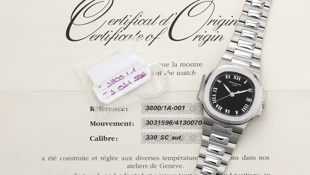 Patek Philippe, 'A fine and rare stainless steel wristwatch with center seconds, date, bracelet, original certificate and presentation box', 2001, Phillips