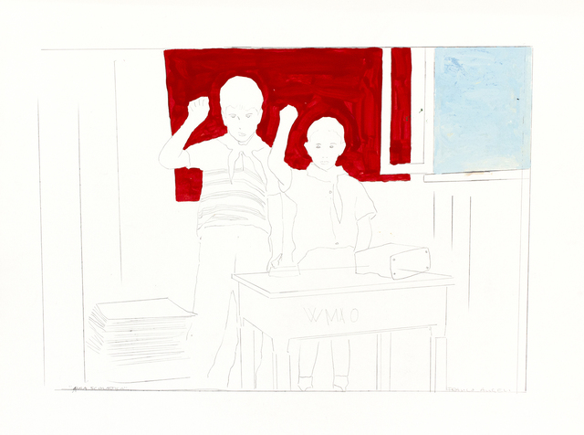Franco Angeli, 'Classroom (Dario Micacchi sons)', Mixed Media, Mixed media on paper, Bertolami Fine Arts