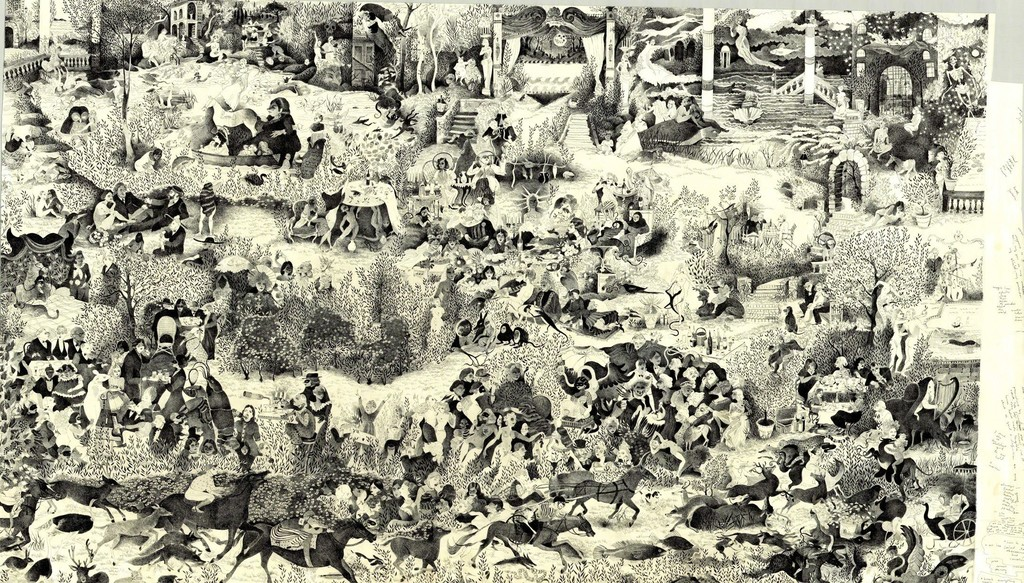 Andie Dinkin, Disisasters in Central Park, 2018, pen on paper, 36 x 60 inches