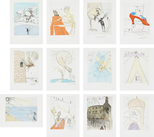 Salvador Dalí, 'After 50 Years of Surrealism', 1974, Print, The complete set of 12 drypoints with pochoir in colours, on BFK Rives paper, with full margins, with title page, colophon, original paper folders with text by André Parinaud, and original black linen-covered portfolio with title printed in silver on the spine., Phillips