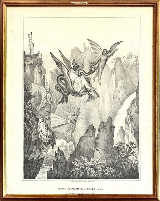 Gaetano Dura, 'Arrival Of Pulcinella On The Moon ', 20th Century, Wallector