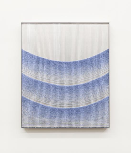 Mimi Jung, '110817 Blue Cascading Ellipses', 2020, Textile Arts, Mohair, cotton, aluminum sheet and aluminum frame, Carvalho Park